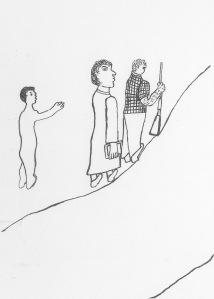 Le Blanc et son fusil, le missionnaire et sa Bible, dessin de Tolamãn Kenhíri