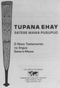 Nouveau Testament Sateré-Mawé illustré d'une massue cérémonielle (puratig)