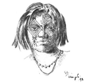 Tatouage caduevo (dessin de Guido Boggiani)