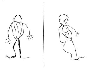 """""""Dessins spontanés"""" nambikwara (à gauche, un homme; à droite un signe)"""