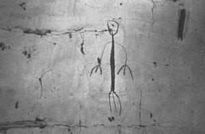 Pétroglyphe sur le mur d'une maison (photographie de Luiz de Castro Faria)