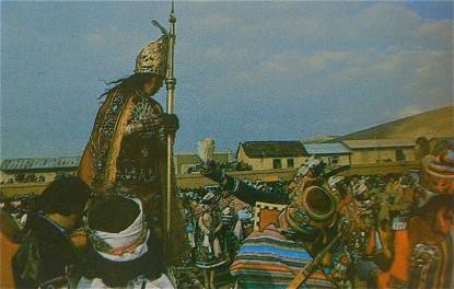 Valverde remet le livre à l'Inka
