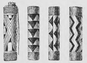 Motifs graphiques : poisson mereshu, tablier uluri, chauve-souris, serpent